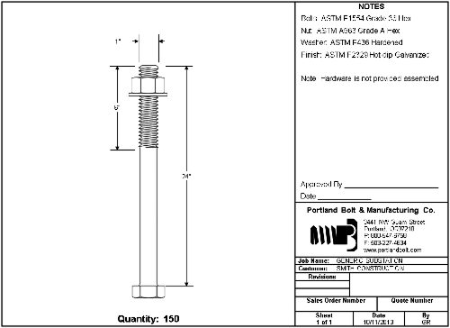 Custom Submittal Drawings  Portland Bolt