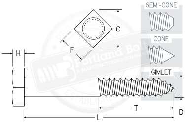 Square Lag Screws