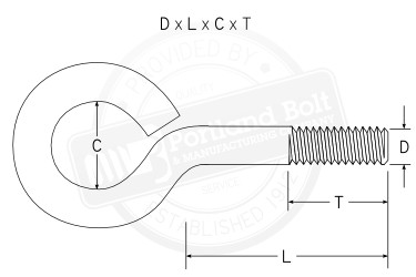 Dimensioned Closed Eye Bolt