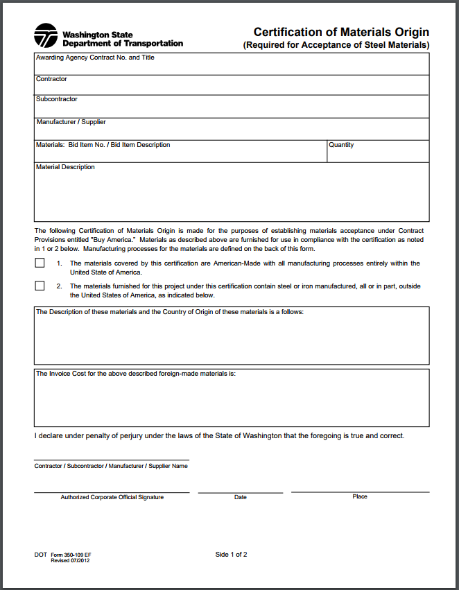 Certificate Of Materials Origin Cmo Portland Bolt