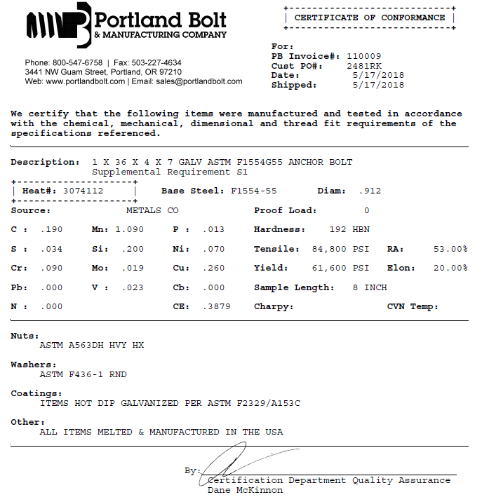 Certified Mill Test Reports Portland Bolt