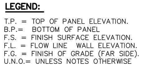 T.P = Top of Panel Elevation, B.P. = Bottom of Panel, F.S = Finish Surface, F.L. = Flow line Wall Elevation, F.G. = Finish of Grade (far side), U.N.O = Unless Notes Otherwise